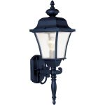 "Senator Collection 1-Light 22"" Black Outdoor Wall Light with Seedy Glass 1068BK"