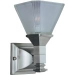 "Brentwood Collection 1-Light 5"" Satin Nickel Wall Sconce with Frosted Glass 11076FTSN"