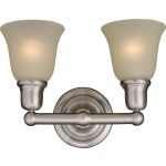"Bel Air Collection 2-Light 15"" Satin Nickel Vanity with Soft Vanilla Glass 11087SVSN"