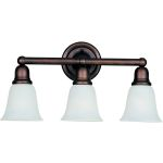 "Bel Air Collection 3-Light 22"" Oil Rubbed Bronze Vanity with Soft Vanilla Glass 11088SVOI"