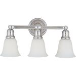 "Bel Air Collection 3-Light 22"" Polished Chrome Vanity with White Glass 11088WTPC"