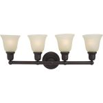 "Bel Air Collection 4-Light 30"" Oil Rubbed Bronze Vanity with Soft Vanilla Glass 11089SVOI"