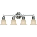 "Bel Air Collection 4-Light 30"" Satin Nickel Vanity with Soft Vanilla Glass 11089SVSN"