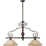 "La Scalla Collection 2-Light 26"" Weathered Copper Pendant with Mocha Cloud Glass 11769MCWC"
