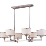 "Nexus Collection 6-Light 39"" Satin Nickel Linear Chandelier 12057WTSN"