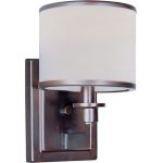 "Nexus Collection 1-Light 9"" Oil Rubbed Bronze Wall Sconce with White Drum Shade 12059WTOI"