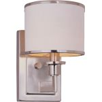 "Nexus Collection 1-Light 9"" Satin Nickel Wall Sconce with White Drum Shade 12059WTSN"