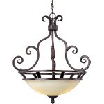 "Manor Collection 3-Light 26"" Oil Rubbed Bronze Invert Bowl Pendant with Frosted Ivory Glass 12202FIOI"