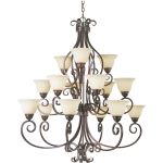 "Manor Collection 15-Light 47"" Oil Rubbed Bronze Foyer Chandelier with Frosted Ivory Glass 12209FIOI"