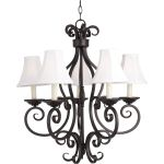 "Manor Collection 5-Light 28"" Oil Rubbed Bronze Chandelier with Fabric Shades 12215OI/SHD123"