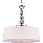 "Rondo Collection 4-Light 24"" Polished Nickel Foyer Pendant with White Fabric Shade 12753WTPN"
