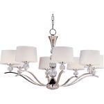 "Rondo Collection 8-Light 23"" Polished Nickel Chandelier with White Fabric Shades 12758WTPN"