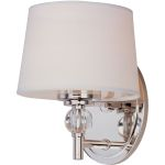 "Rondo Collection 1-Light 6"" Polished Nickel Wall Sconce with White Fabric Shade 12761WTPN"