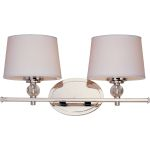 "Rondo Collection 2-Light 16"" Polished Nickel Vanity with White Fabric Shades 12762WTPN"