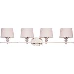 "Rondo Collection 4-Light 36"" Polished Nickel Vanity with White Fabric Shades 12764WTPN"