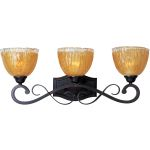 "Barcelona Collection 3-Light 26"" Oil Rubbed Bronze Bath Vanity with Amber Ice Glass 13423AIOI"