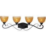 "Barcelona Collection 4-Light 35"" Oil Rubbed Bronze Bath Vanity with Amber Ice Glass 13424AIOI"