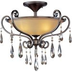 "Chic Collection 3-Light 25"" Heritage Bronze Semi-Flush Mount with Cognac Glass and Crystal 14302COHR"