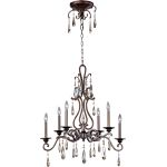 "Chic Collection 6-Light 29"" Heritage Bronze Chandelier with Crystal 14308HR"
