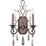 "Chic Collection 2-Light 22"" Heritage Bronze Wall Sconce with Crystal 14309HR"