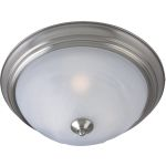 "Outdoor Essentials Collection 1-Light 11"" Satin Nickel Outdoor Ceiling Light with Marble Glass 1940MRSN"