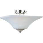 "Aurora Collection 2-Light 13"" Satin Nickel Semi-Flush Mount with Frosted Glass 20091FTSN"