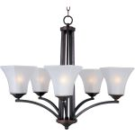 "Aurora Collection 5-Light 23"" Oil Rubbed Bronze Chandelier with Frosted Glass 20095FTOI"