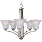 "Aurora Collection 5-Light 23"" Satin Nickel Chandelier with Frosted Glass 20095FTSN"
