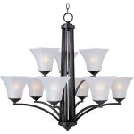 "Aurora Collection 9-Light 30"" Oil Rubbed Bronze Chandelier with Frosted Glass 20096FTOI"