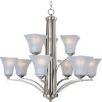 "Aurora Collection 9-Light 30"" Satin Nickel Chandelier with Frosted Glass 20096FTSN"