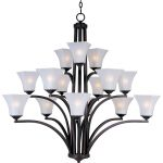 "Aurora Collection 15-Light 42"" Oil Rubbed Bronze Chandelier with Frosted Glass 20097FTOI"