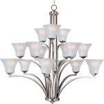 "Aurora Collection 15-Light 42"" Satin Nickel Chandelier with Frosted Glass 20097FTSN"