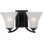 "Aurora Collection 2-Light 13"" Oil Rubbed Bronze Vanity with Frosted Glass 20099FTOI"
