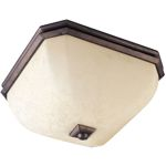 "Oak Harbor Collection 2-Light 15"" Rustic Burnished Flush Mount with Frost Lichen Glass 21075FLRB"