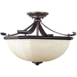 "Oak Harbor Collection 2-Light 18"" Rustic Burnished Semi-Flush Mount with Frost Lichen Glass 21076FLRB"