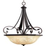 "Oak Harbor Collection 4-Light 28"" Rustic Burnished Pendant with Frost Lichen Glass 21077FLRB"