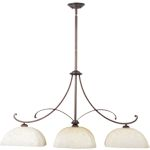 "Oak Harbor Collection 3-Light 43"" Rustic Burnished Pendant with Frost Lichen Glass 21079FLRB"