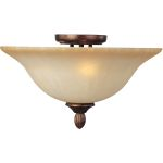 "Sausalito Collection 3-Light 16"" Filbert Semi-Flush Mount with Mocha Cloud Glass 21120MCFL"