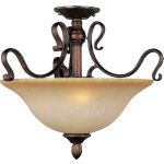 "Sausalito Collection 3-Light 18"" Filbert Semi-Flush Mount with Mocha Cloud Glass 21121MCFL"