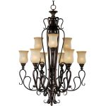 "Sausalito Collection 9-Light 48"" Filbert Chandelier with Mocha Cloud Glass 21126MCFL"
