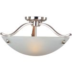 "Contour Collection 2-Light 17"" Satin Nickel Semi-Flush Mount with Frosted Glass 21261FTSN"