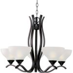 "Contour Collection 5-Light 20"" Oil Rubbed Bronze Chandelier with Frosted Glass 21265FTOI"