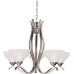 "Contour Collection 5-Light 20"" Satin Nickel Chandelier with Frosted Glass 21265FTSN"