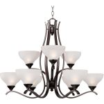 "Contour Collection 9-Light 26"" Oil Rubbed Bronze Chandelier with Frosted Glass 21266FTOI"
