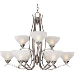"Contour Collection 9-Light 26"" Satin Nickel Chandelier with Frosted Glass 21266FTSN"
