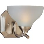 "Contour Collection 1-Light 7"" Satin Nickel Wall Sconce with Frosted Glass 21271FTSN"