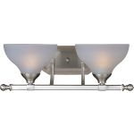 "Contour Collection 2-Light 18"" Satin Nickel Vanity with Frosted Glass 21272FTSN"
