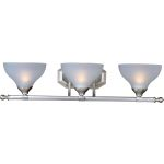 "Contour Collection 3-Light 28"" Satin Nickel Vanity with Frosted Glass 21273FTSN"