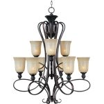 "Infinity Collection 9-Light 40"" Oil Rubbed Bronze Chandelier with Wilshire Glass 21306WSOI"
