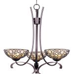 "Meridian Collection 3-Light 23"" Umber Bronze Mini Chandelier with Dusty White Glass 21343DWUB"